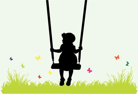 Little girl on a swing .