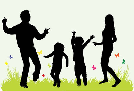 Happy family. Black silhouettes. Vector