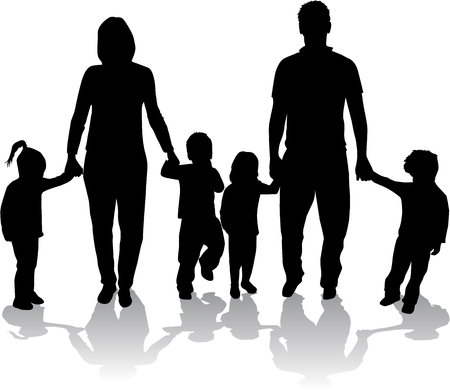 foster: Large families. Black silhouettes.