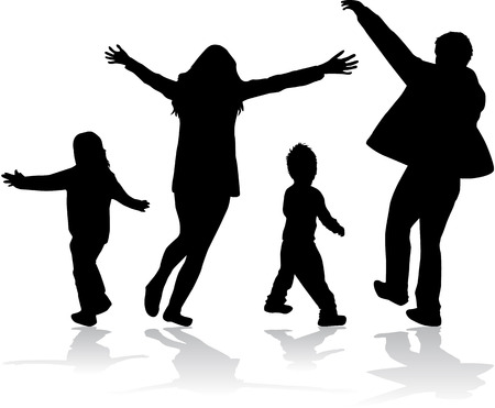 Familles de silhouettes  Banque d'images - 27157509