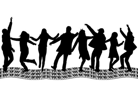 Silhouette - Group of people  Vector