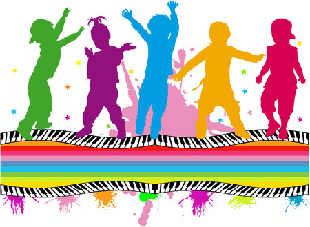 group of childrens silhouettes  Vector