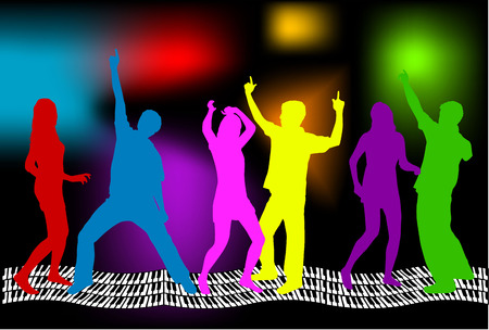 disco girls: Silhouette - Group of people Illustration
