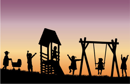 Children at the playground. Vector