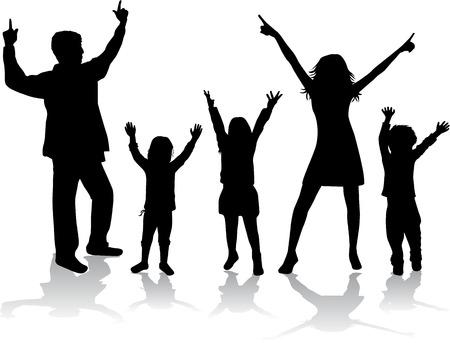 waving hand: Family silhouettes Illustration