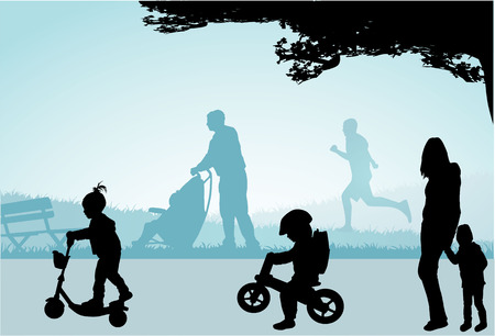 Walk in the park - people silhouettes . Vector