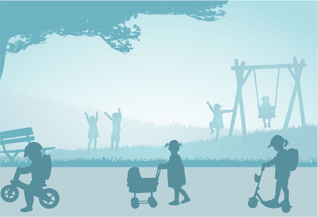 Playing children on a playground. Vector