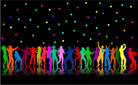 concert stage: Dancing silhouettes
