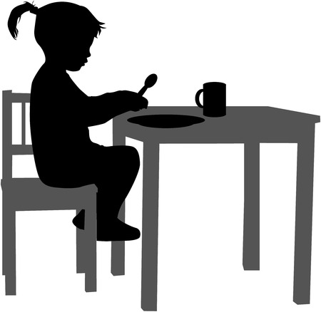children silhouettes: Girl eaten at the table.