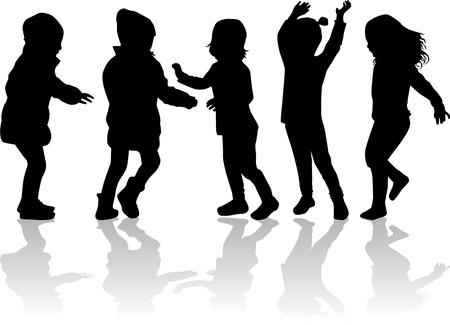kids fun: Children silhouettes