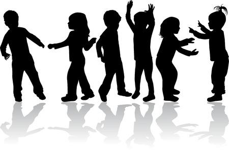 子供のシルエットのグループ