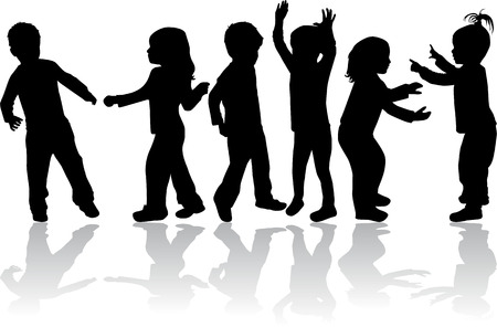 group of children silhouettes Vector