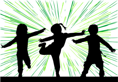 Dancing silhouettes of children. Ilustracja
