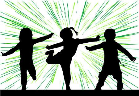 Dancing silhouettes of children. Vettoriali
