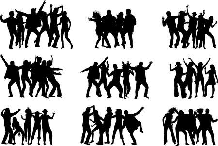 persone che ballano: Danza sagome Vettoriali
