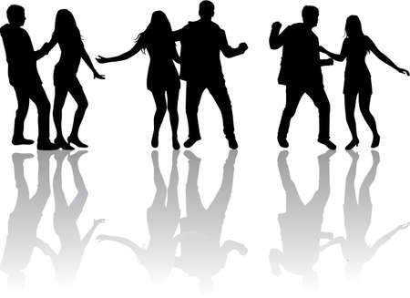 black teens: Dancing silhouettes