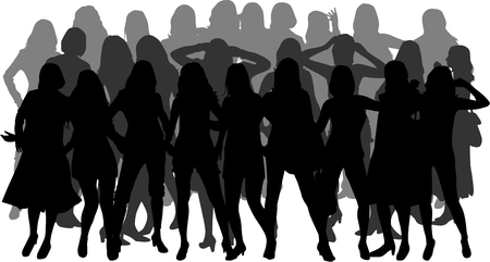 one on one meeting: Women silhouettes Illustration