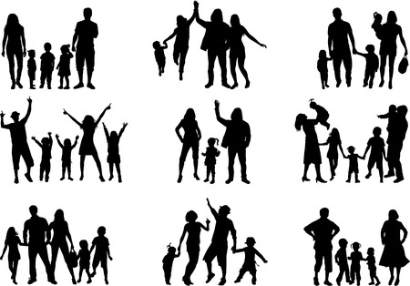 children silhouettes: Family silhouettes Illustration