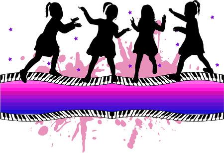 dance shadow: group of children