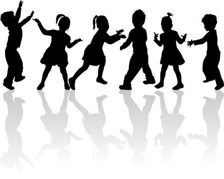 child sitting: group of children silhouettes