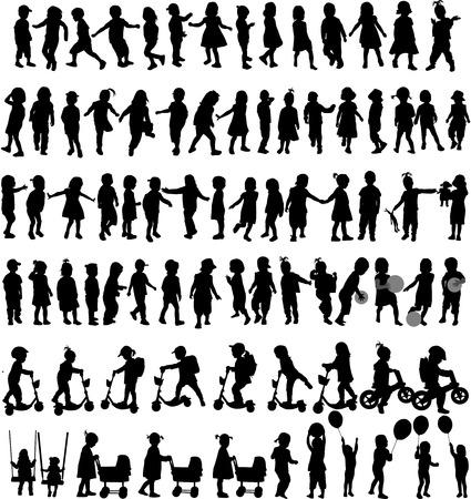 Gruppe von Kindern Silhouetten Standard-Bild - 29004774