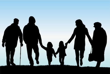 happy old age: Family silhouettes Illustration