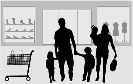 Family shopping. Silhouettes conceptual. Vector