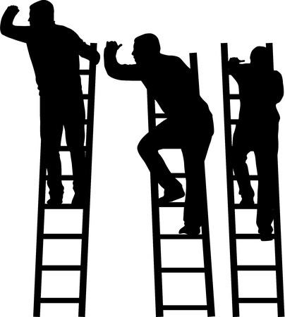 Silhouet van een man op een ladder. Stock Illustratie