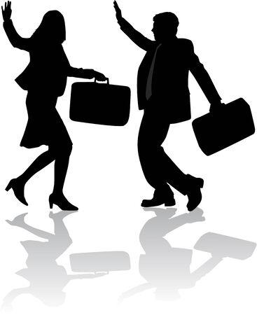 waving hand: happy business