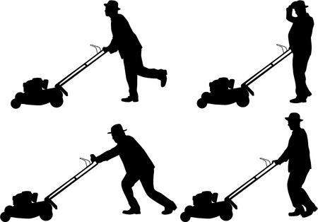 lawn mower: Man Mowing Lawn  Illustration