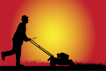 mower: Man Mowing Lawn