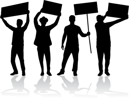 teen silhouette: manifestation - a group of people protesting Illustration