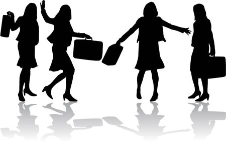 waving hand: Women silhouettes.