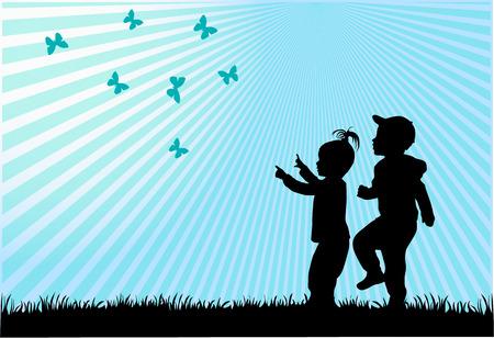 silhouettes d'enfants