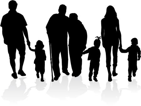 Familie Silhouetten Standard-Bild - 29779624