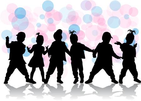 children silhouettes Vettoriali