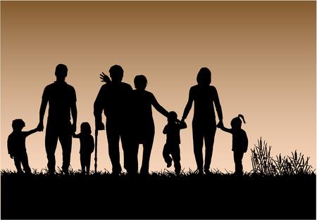 Familie Silhouetten Standard-Bild - 30137230