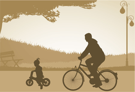 father and child: Family silhouettes Illustration