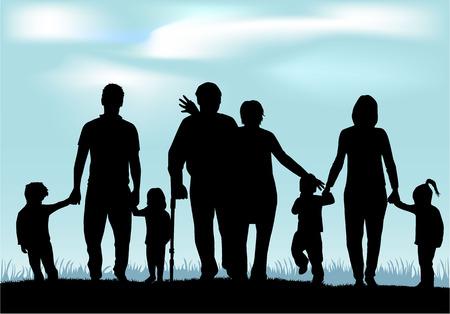 Familie Silhouetten Standard-Bild - 30141180