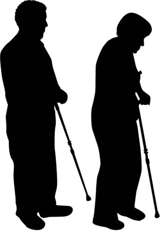 crippled: Senior .Silhouettes of people.