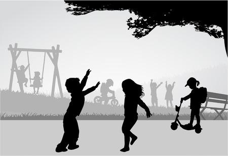 Enfants jouant sur une aire de jeux. Banque d'images - 30225903
