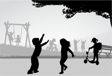 grass silhouette: Playing children on a playground.