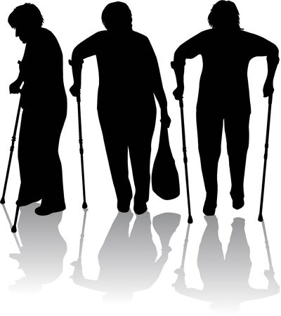 crippled: silhouette of an older woman