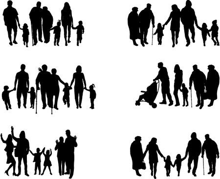 Familie Silhouetten Standard-Bild - 30225942