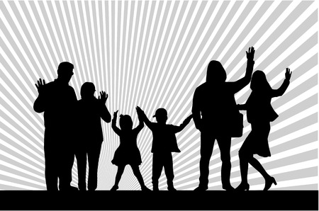 family relationships: Family silhouettes  Illustration