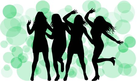 teen dance: Dancing silhouettes women Illustration