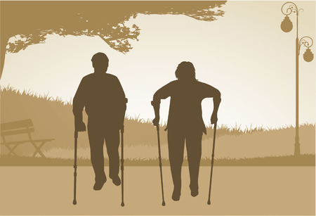 Senior .Silhouettes of people. Vector