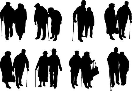 Senior .Silhouettes mensen. Stock Illustratie