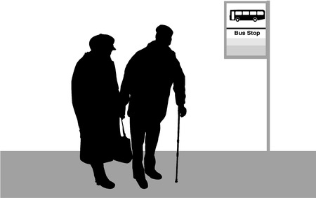 old person: Bus Stop - Senior Couple