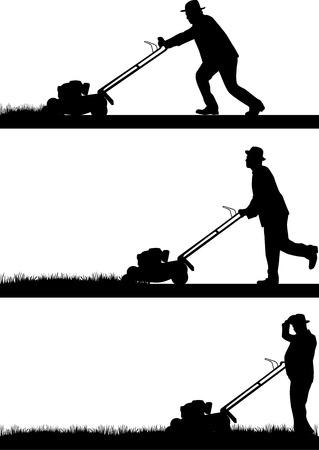 남자 잔디 깎기 잔디